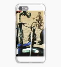 digital RETRO CYCLING print with calligraphy iPhone Case/Skin