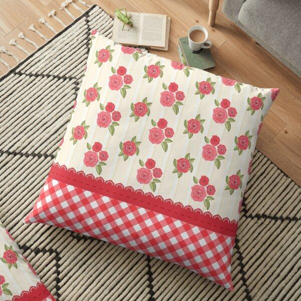 Beautiful Red Rose Shabby Wallpaper Floor Pillow