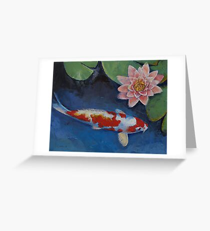 Koi and Water Lily Greeting Card