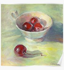 Sunny still life with cherries in a cup painting Svetlana Novikova Poster