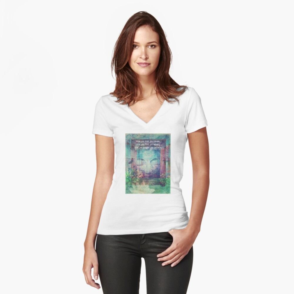 Inspiring Buddha quote about positive thinking Fitted V-Neck T-Shirt