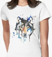 Watercolour Wolf Women's Fitted T-Shirt