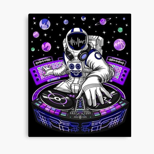 Astronaute psychédélique DJ Impression sur toile