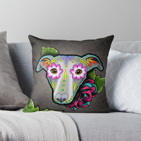 Day of the Dead Whippet / Greyhound Sugar Skull Dog Throw Pillow