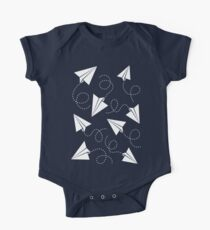Paper Plane Pattern Short Sleeve Baby One-Piece