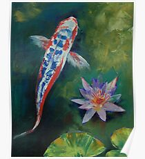 Shusui Koi and Water Lily Poster