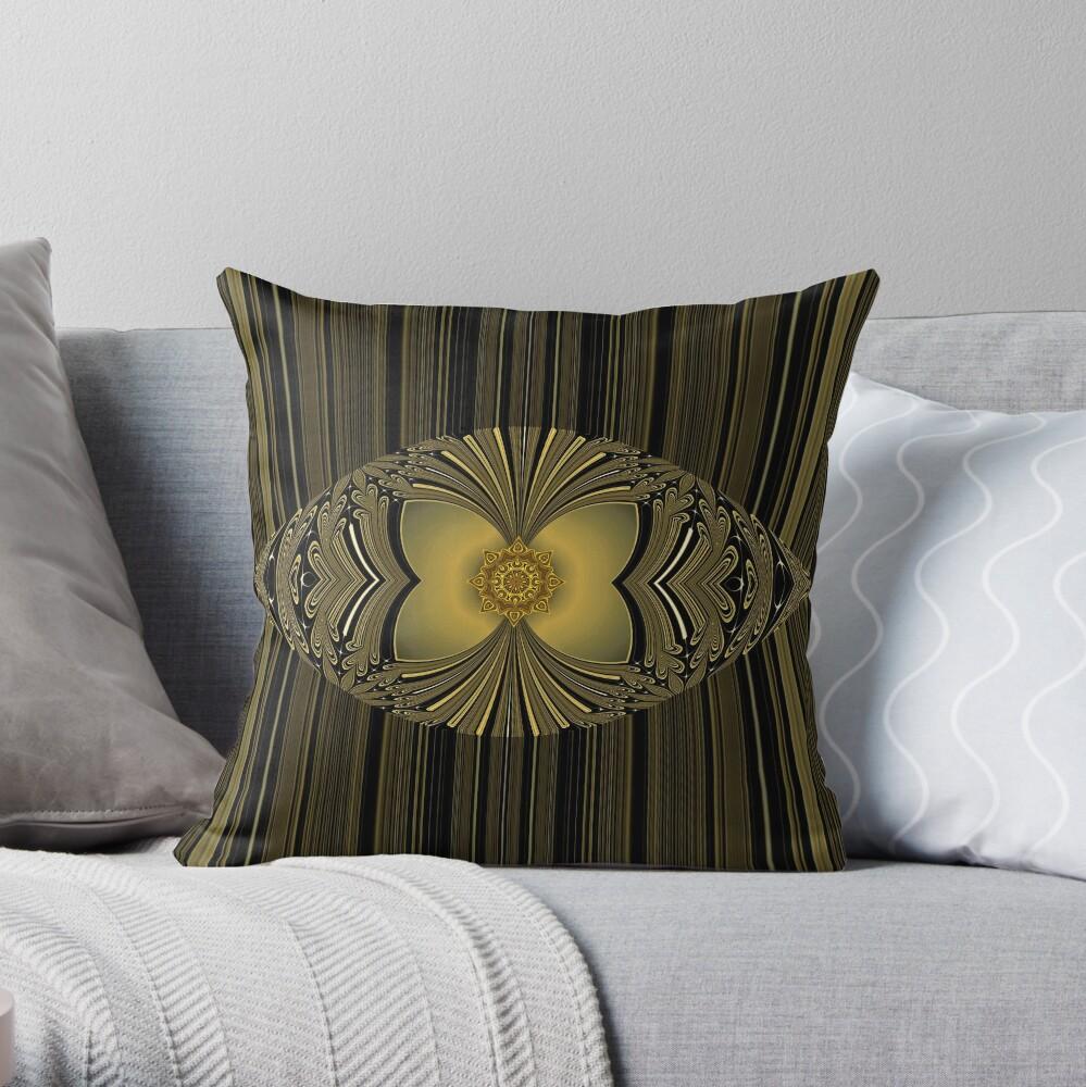Golden Floral Throw Pillow