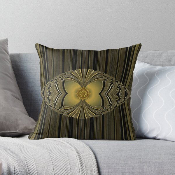 Golden Floral Throw Pillow