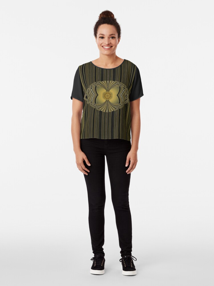 Alternate view of Golden Floral Chiffon Top