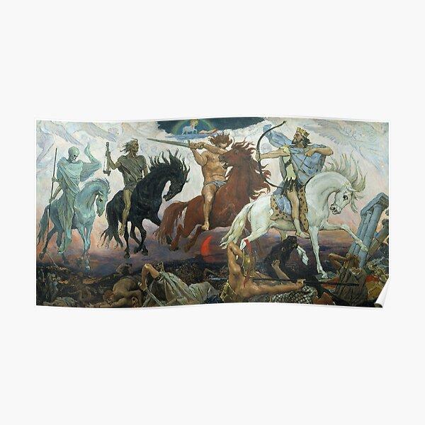 Four Horsemen of the Apocalypse. 1887. Painting by Viktor Vasnetsov.  Poster