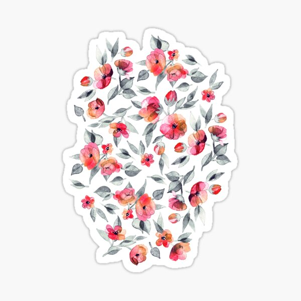 Fresh Spring Blooms in Watercolor - charcoal grey and coral Sticker