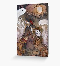 The Gathering - Kitten Witch Ghost Halloween Greeting Card