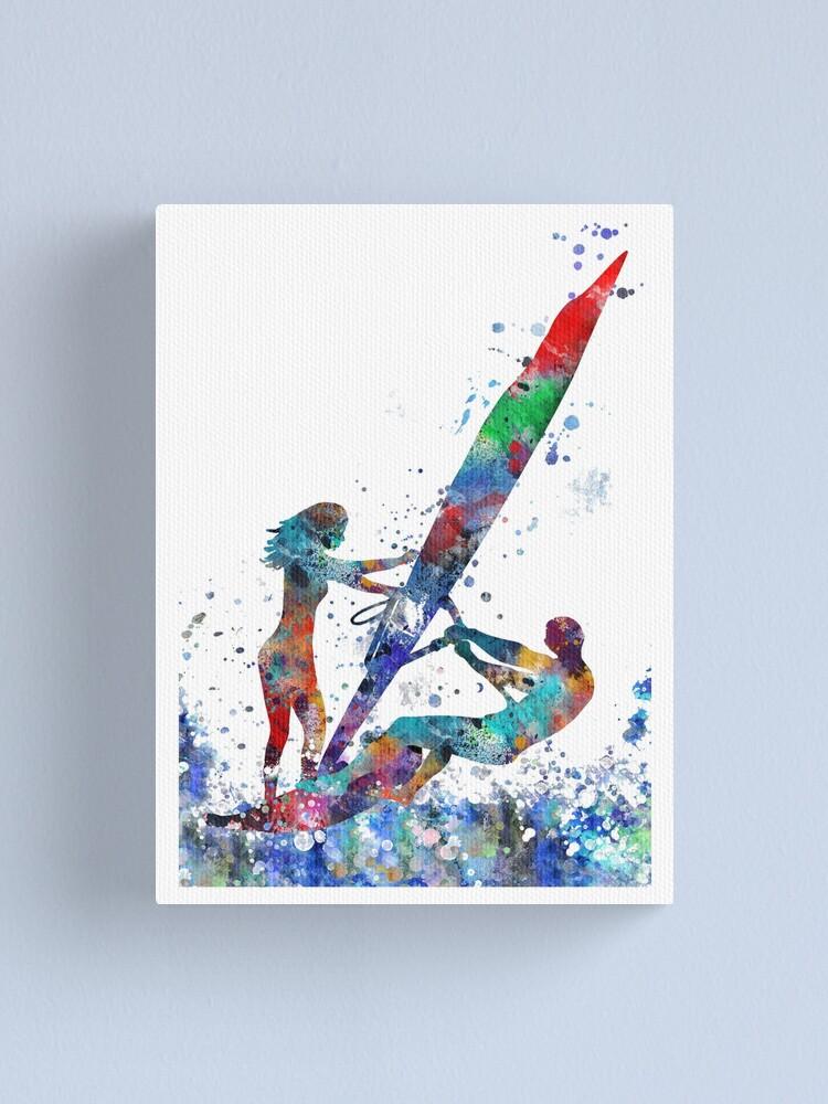 Alternate view of Windsurfer, windsurfing couple Canvas Print