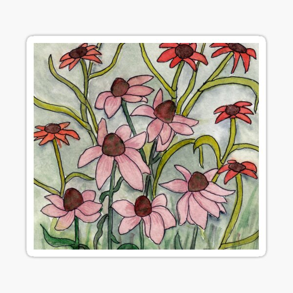 Echinacea & Co. Blumen in art deco Format. Sticker