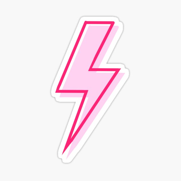 pink and red lightning bolt Sticker