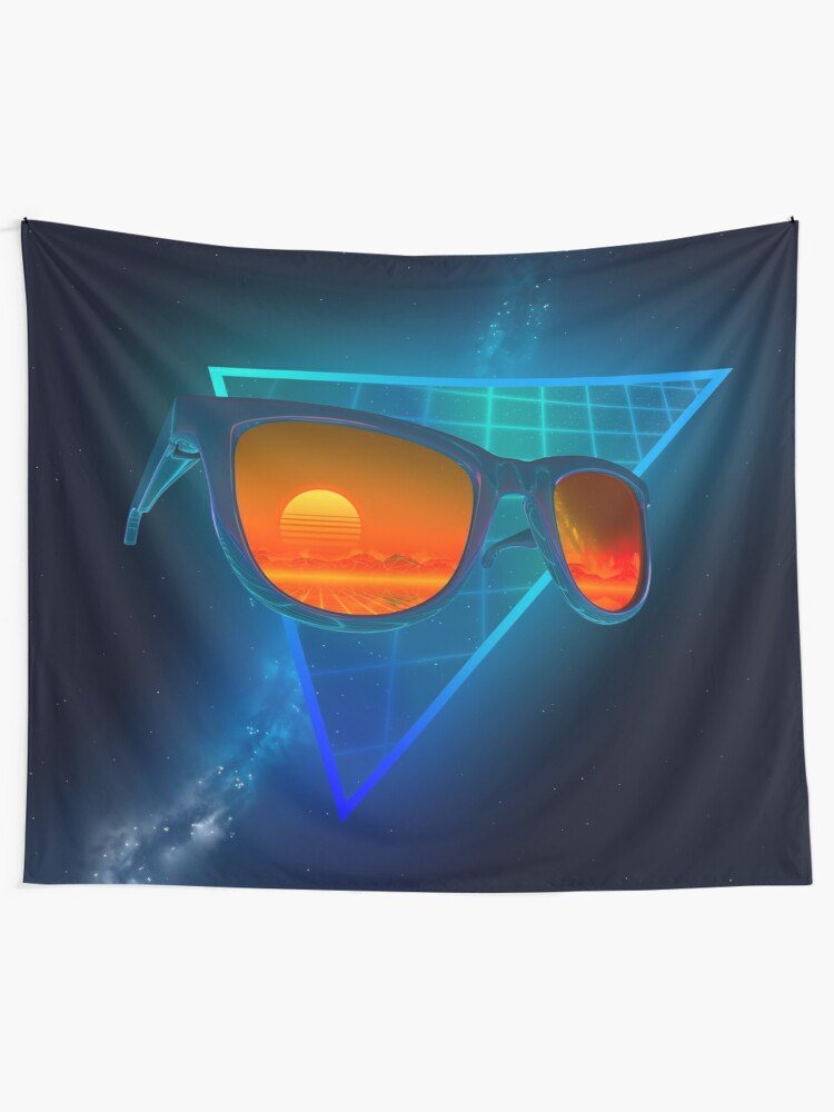 Alternate view of Sunglasses in space (Blue) Tapestry
