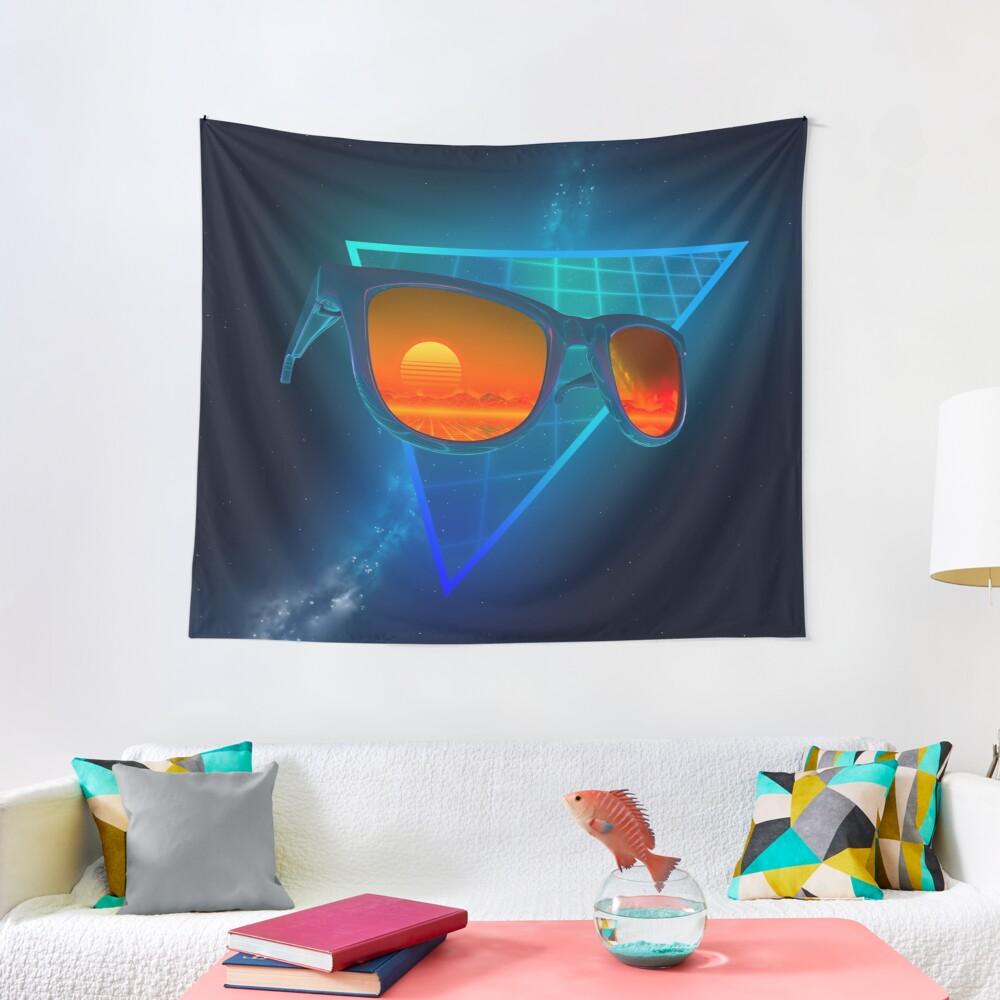 Sunglasses in space (Blue) Tapestry