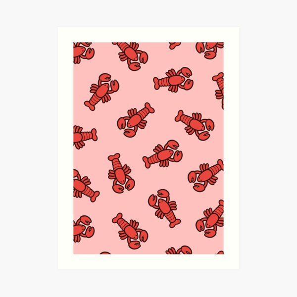 Lobsters Pattern on Light Pink Art Print