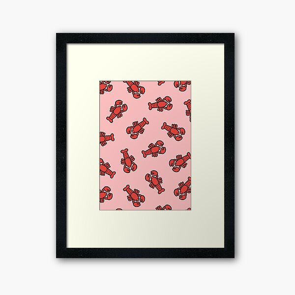 Lobsters Pattern on Light Pink Framed Art Print