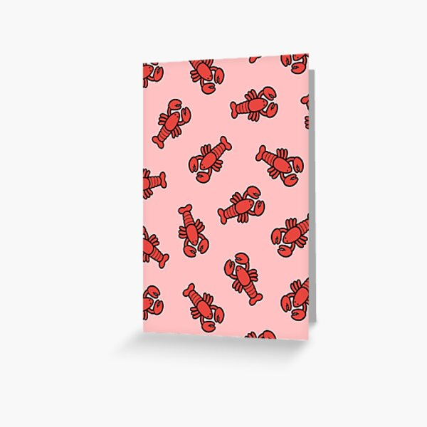 Lobsters Pattern on Light Pink Greeting Card