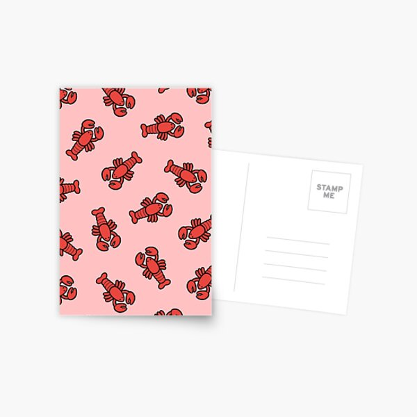 Lobsters Pattern on Light Pink Postcard