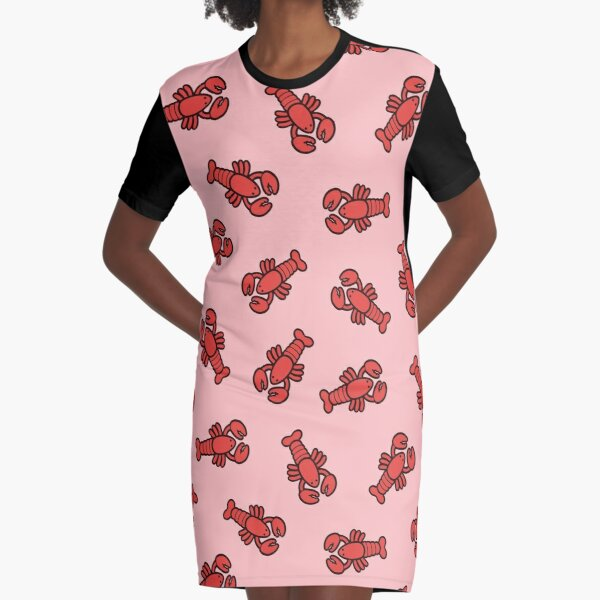 Lobsters Pattern on Light Pink Graphic T-Shirt Dress