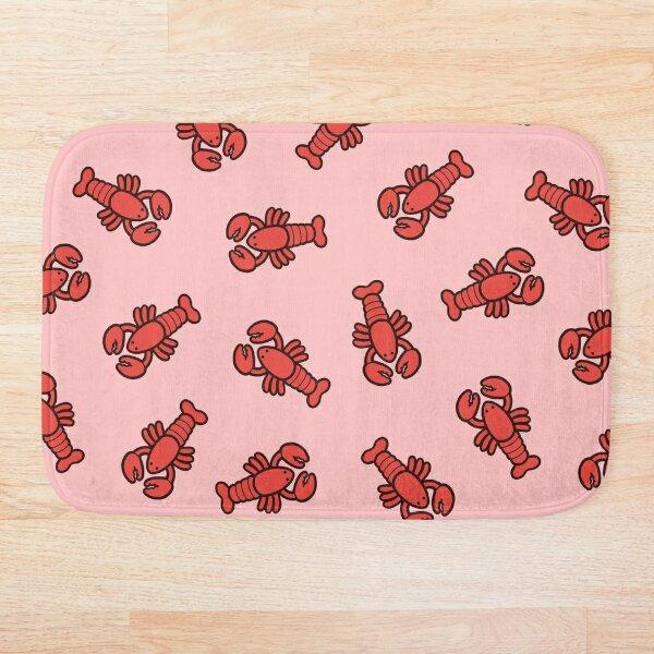 Lobsters Pattern on Light Pink Bath Mat