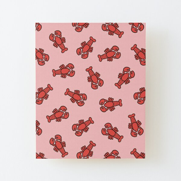 Lobsters Pattern on Light Pink Wood Mounted Print