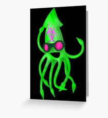 Nuclear Rave Squid Greeting Card