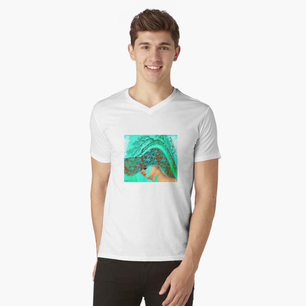 face-Bird woman Mens V-Neck T-Shirt Front