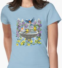 Bluebirds Goldfinches and Bird Bath Garden Womens Fitted T-Shirt