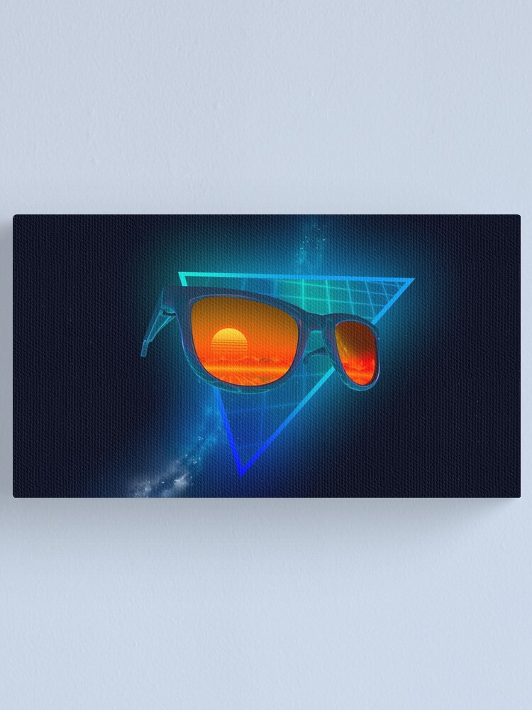 Alternate view of Sunglasses in space (Blue) Canvas Print
