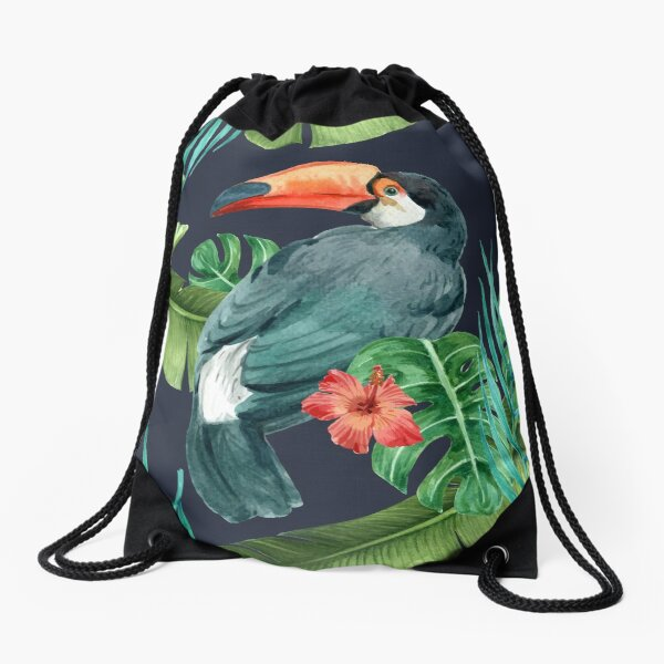Realistic Tropical Toucans Drawstring Bag