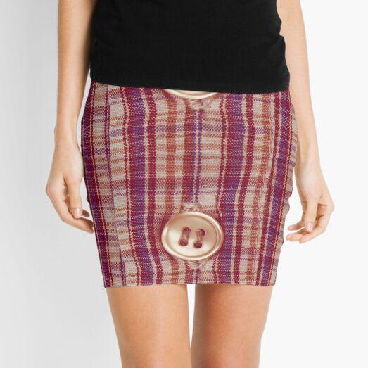 Flannel Rose Gold Button Artwork Mini Skirt