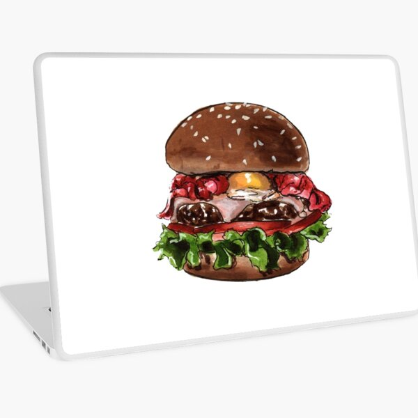 Hamburguesa, burger, hamburger, ilustración de comida Vinilo para portátil