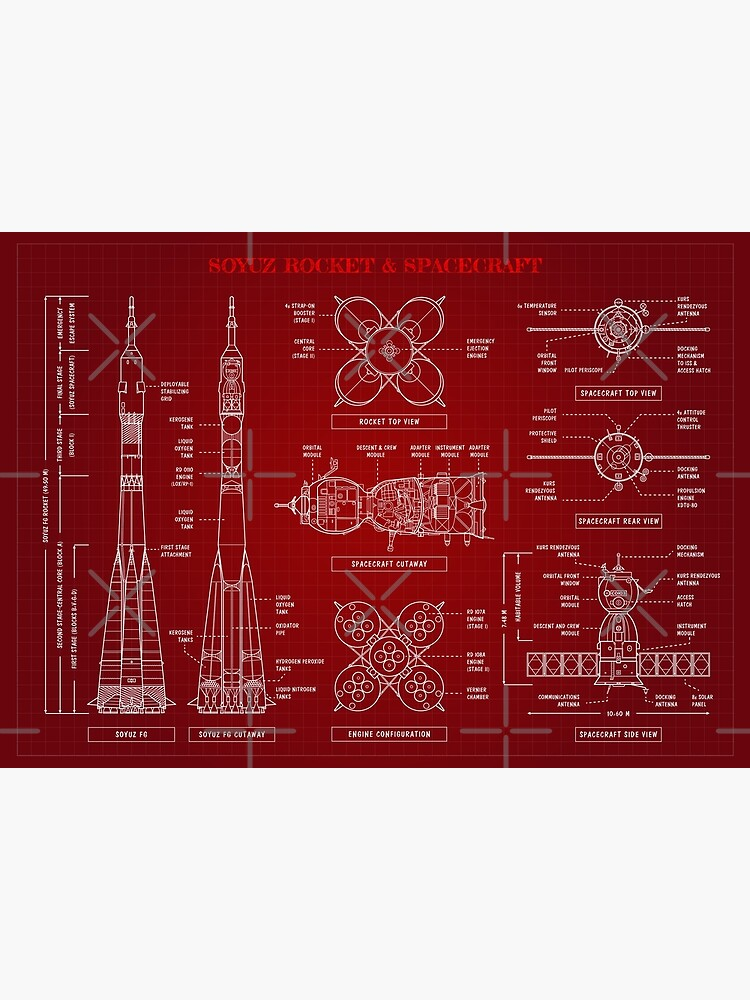 Soyuz Rocket and Spacecraft (Red - English) by BGALAXY