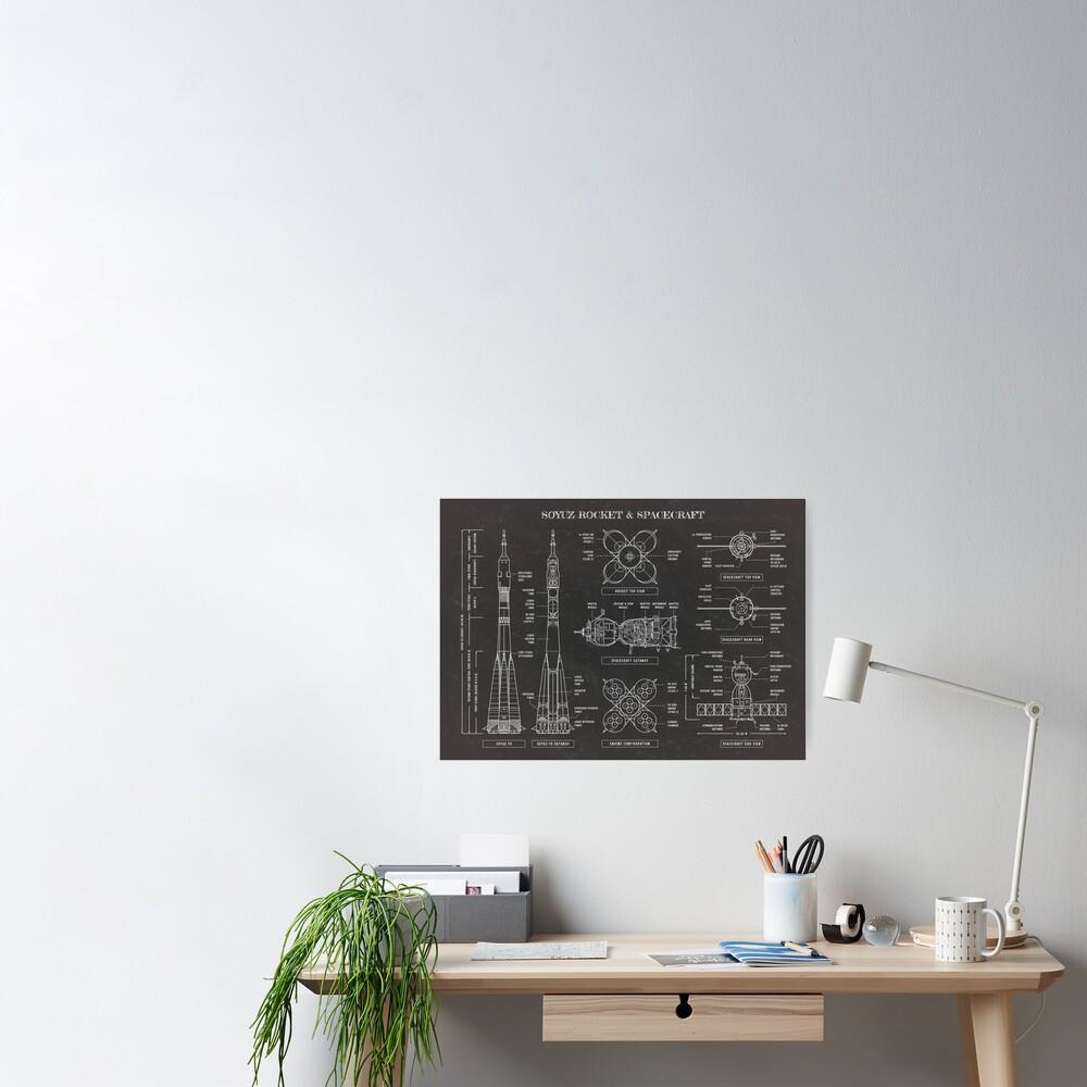 Soyuz Rocket And Spacecraft (Blackboard) Poster