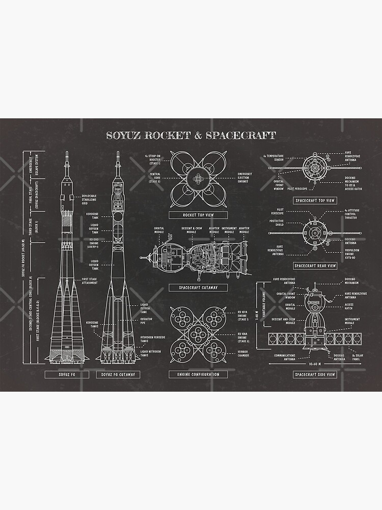 Soyuz Rocket And Spacecraft (Blackboard) by BGALAXY