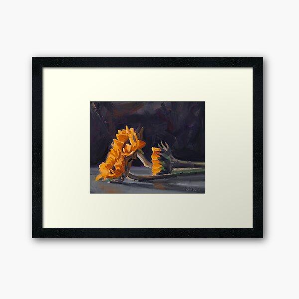 Three Mini Sunflowers Framed Art Print