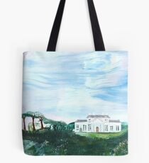 A walk in the park in wide open space. Tote Bag