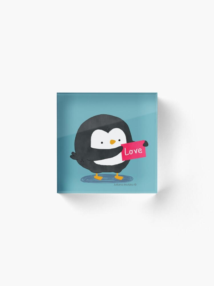 Alternate view of Penguin with a Love Card Acrylic Block