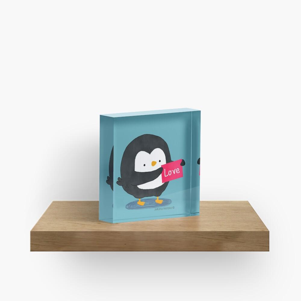 Penguin with a Love Card Acrylic Block