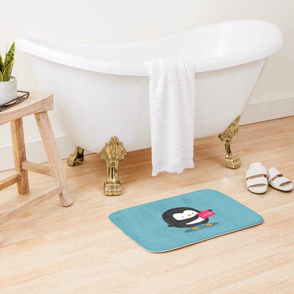 Penguin with a Love Card Bath Mat