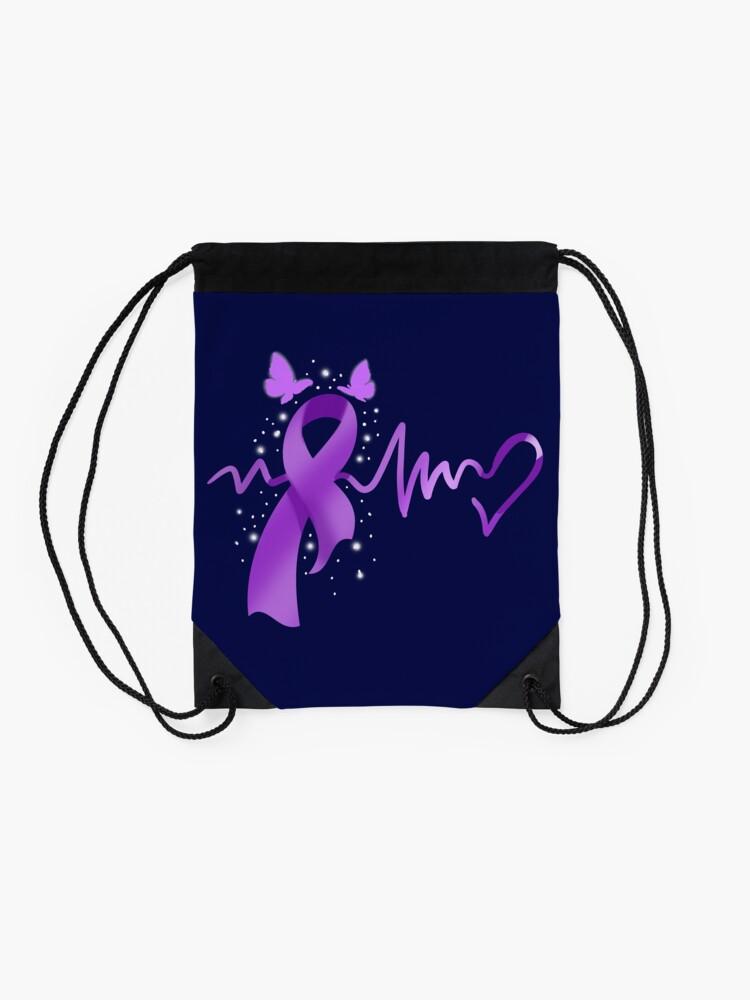 Alternate view of Epilepsy Awareness Heartbeat Drawstring Bag