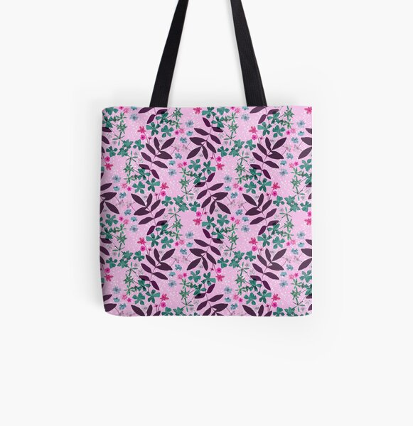 Pressed flowers and leaves pink All Over Print Tote Bag