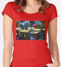 Waterlily Impressions - Dreaming of Monet Gardens Women's Fitted Scoop T-Shirt