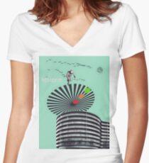 Retro-Futurism Women's Fitted V-Neck T-Shirt