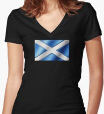 Scottish Flag - Scotland - Metallic Women's Fitted V-Neck T-Shirt