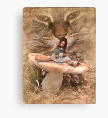 Alice's Little Tea Party With The Cheshire Cat Canvas Print