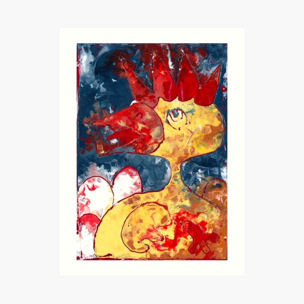 action painted chicken Art Print